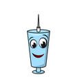 cartoon funny syringe injection insulin medical vector image