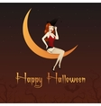 charming witch on moon vector image