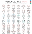 clothes shoes color line outline icons vector image vector image