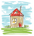 Colorful house kids drawing vector image vector image