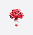 Colorful pixel style tree logo vector image vector image