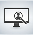 computer monitor and magnifying glass searching vector image vector image