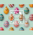 cute easter background with white bunny chicken vector image vector image