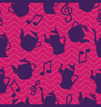 dancing teapots on a seamless pattern background vector image