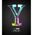 Design Light Effect Alphabet Letter Y vector image vector image