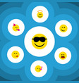 flat icon emoji set of delicious food happy vector image vector image