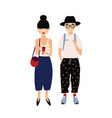 funny hipster man and woman wearing stylish fancy vector image vector image