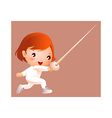 Girl in fencing costume vector image vector image