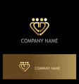 gold heart group logo vector image vector image