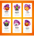 halloween greeting cards light set vector image vector image