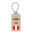 hang tag made in peru with flag icon isolated on a vector image vector image