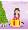 Happy girl with gift box near Christmas tree vector image vector image