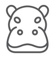 hippo line icon animal and zoo hippopotamus vector image