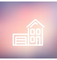 House with garage thin line icon vector image vector image
