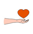 human helping hand holding heart shape vector image