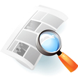 Icon of newspaper and lens vector image