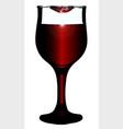 lipstick on wine glass vector image vector image