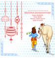 lord krishna in happy janmashtami festival vector image vector image