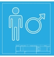 Male sign White section of icon on vector image