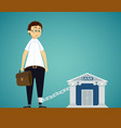 man chained to bank debt on loan vector image