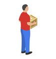 man delivery box icon isometric style vector image