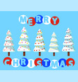 merry christmas pine trees with snow and garlands vector image vector image