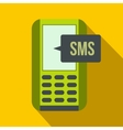 Mobile phone with sms message symbol flat icon vector image