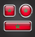 Morocco flag glass buttons vector image vector image