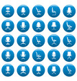 office chair icons set blue simple style vector image