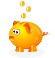 Piggy bank with coins background vector image