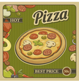 retro vintage poster pizza and ingredients vector image