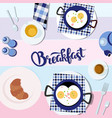romantic breakfast on the vector image