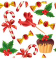 seamless pattern new year sweets vector image vector image