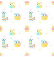 seamless pattern with cute reading animals vector image