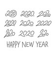 set 2020 calligraphic numbers editable stroke vector image vector image