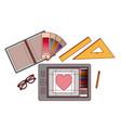 set elements graphic design creative process on vector image