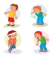 Set icons little boy sick vector image