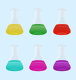 Set of laboratory with colourful liquid vector image