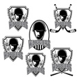set of vintage sports clubs with warrior face vector image
