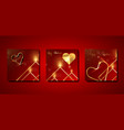 set valentines day red square greeting cards vector image vector image