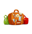 suitcase and bag for travel vector image