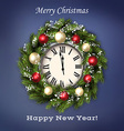Traditional Christmas wreath with greeting text vector image vector image