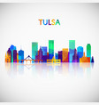 tulsa skyline silhouette in colorful geometric vector image vector image