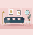 velvet sofa in living room modern trendy vector image