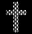 white halftone religious cross icon vector image vector image