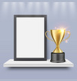 winner blank certificate diploma frame and gold vector image