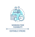 working time flexibility turquoise concept icon vector image vector image