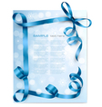christmas background with blue bows vector image