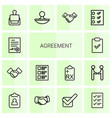 14 agreement icons vector image vector image