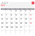2015 July calendar page vector image